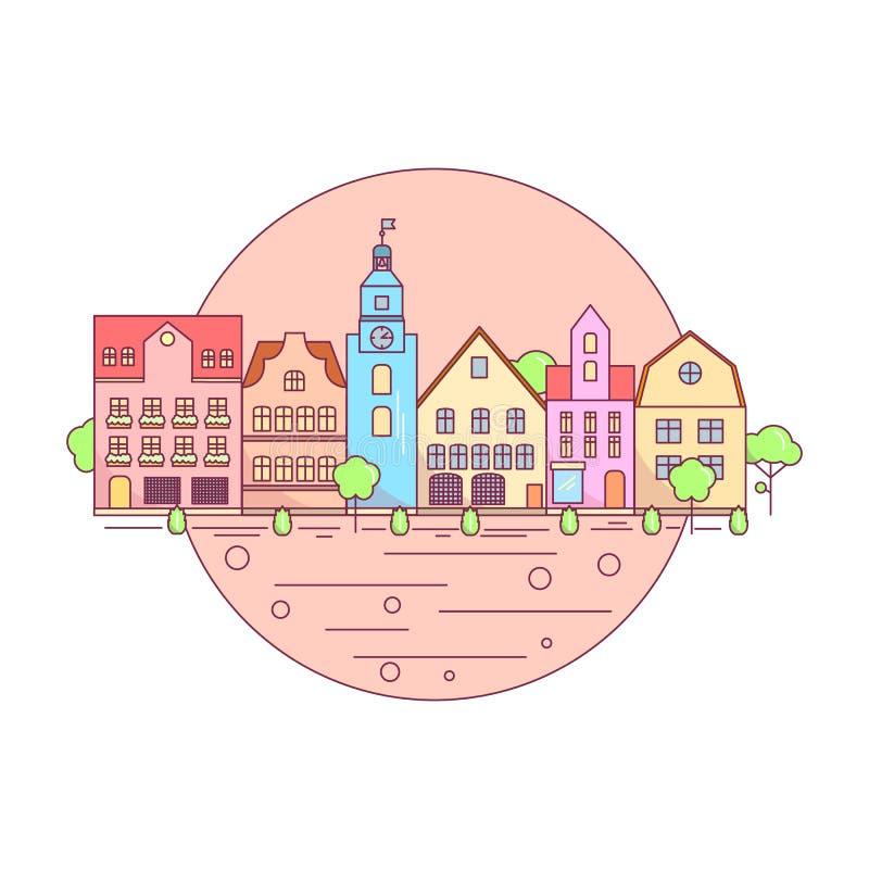 Linha lisa ícone da paisagem da cidade, disposição dos elementos do Web site da paisagem urbana ilustração royalty free