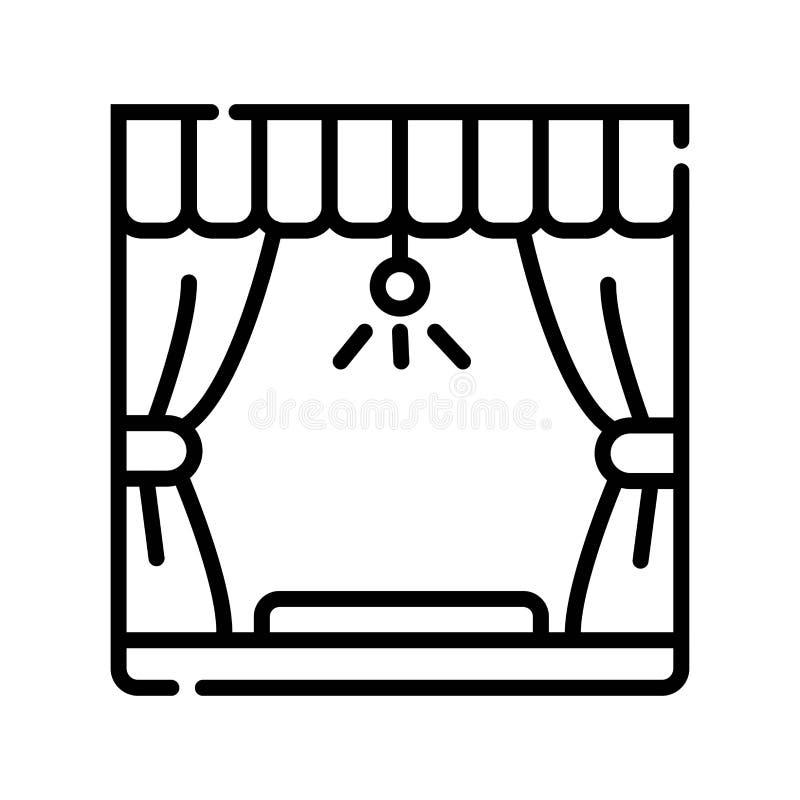 Linha lisa ícone das construções da fase Cena, renta do equipamento do evento ilustração stock
