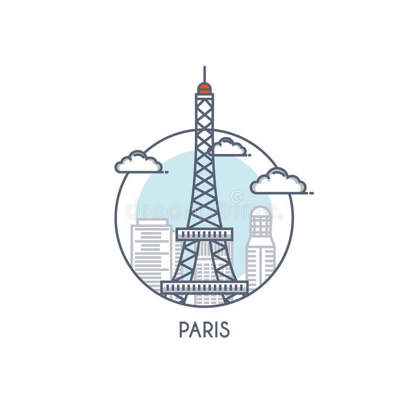 Linha lisa ícone deisgned - Paris ilustração do vetor