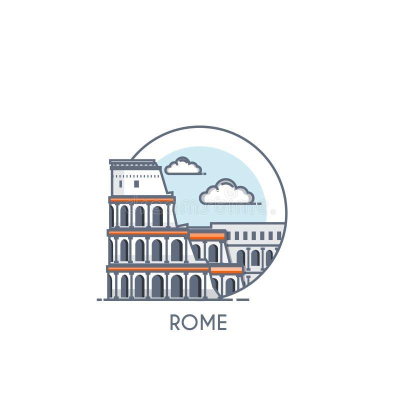 Linha lisa ícone deisgned - Roma ilustração royalty free