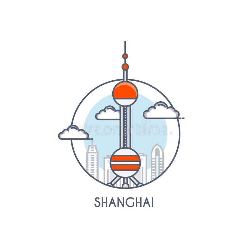 Linha lisa ícone deisgned - Shanghai ilustração stock