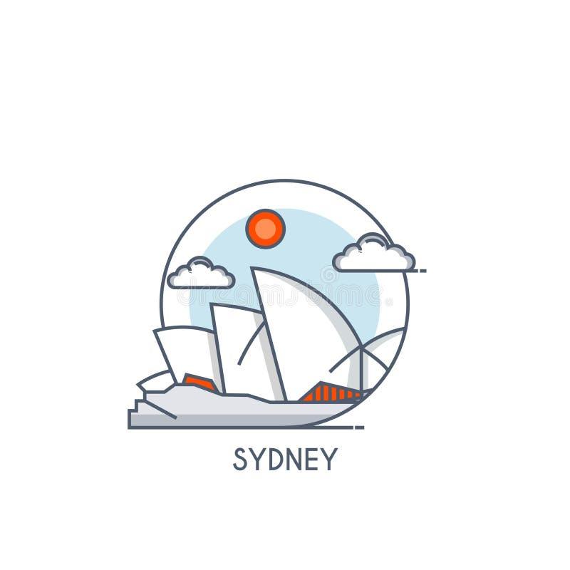 Linha lisa ícone deisgned - Sydney ilustração do vetor