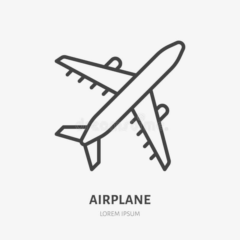 Linha lisa ícone do avião Ilustração do vetor plano Sinal fino para o jato, transporte de carga do ofício do ar, logotipo das lin ilustração royalty free