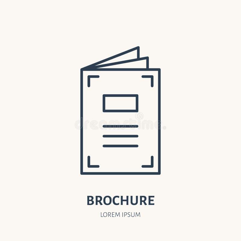Linha lisa ícone do folheto Brochura, sinal do catálogo da promoção Logotipo linear fino para o printery, estúdio do projeto ilustração stock