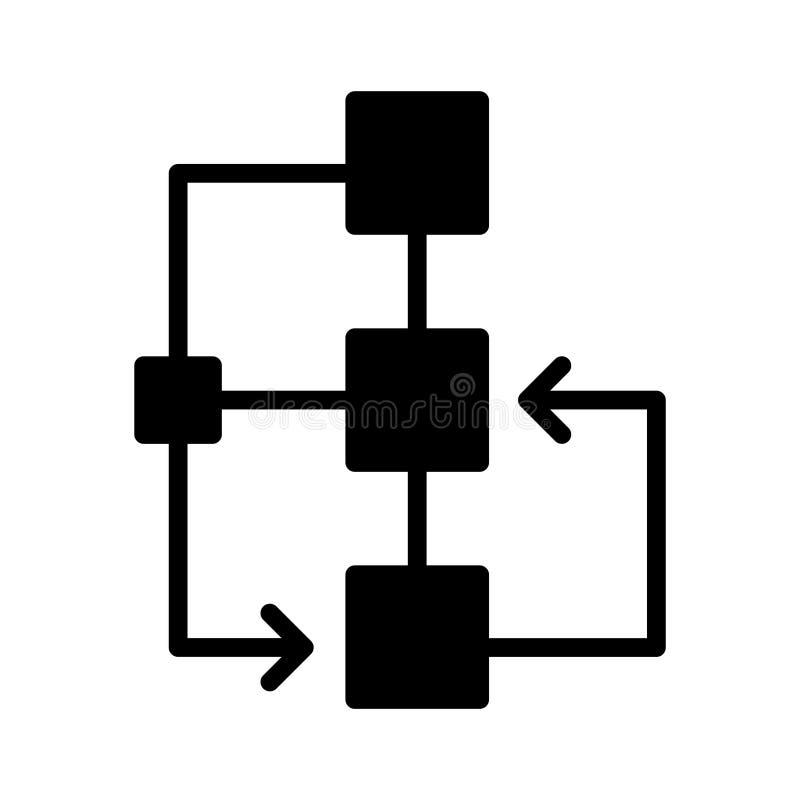 Linha lisa ícone do glyph do fluxograma do vetor ilustração royalty free