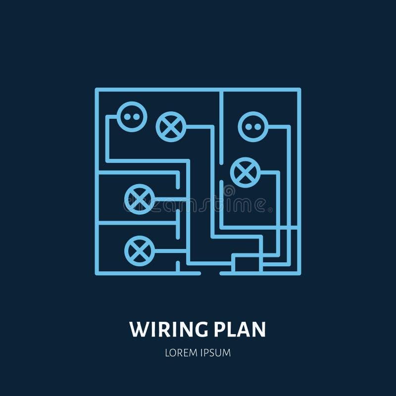 Linha lisa ícone do plano da fiação Vector o sinal do serviço bonde, cabos da eletricidade na casa ilustração stock