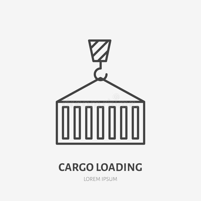 Linha lisa ícone do recipiente de carga da carga do guindaste Entrega, sinal de envio Logotipo linear fino para serviços de frete ilustração royalty free