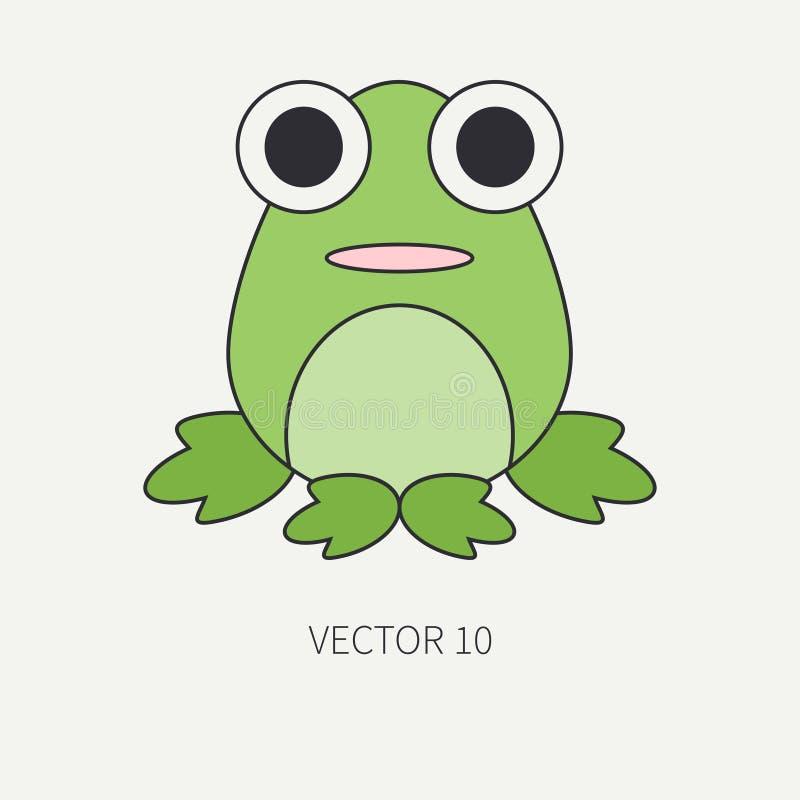 Linha lisa ícone do vetor da cor com o animal bonito para produtos do bebê - rã Estilo dos desenhos animados A garatuja das crian ilustração stock