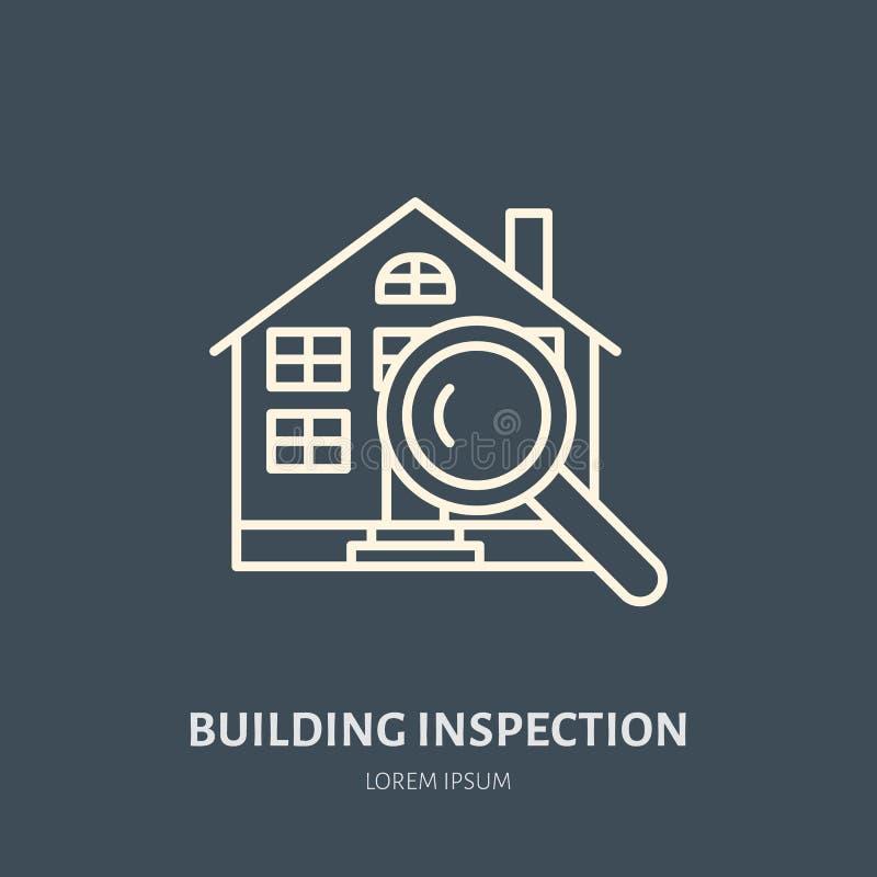 Linha lisa ícone do vetor da inspeção da casa Logotipo dos bens imobiliários Ilustração da construção sob o vidro Projetando a av ilustração stock