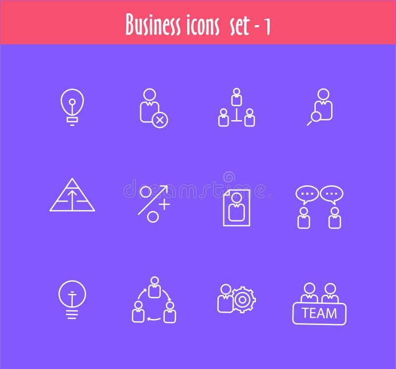 Linha lisa ícones ajustados da reunião de negócios ilustração do vetor