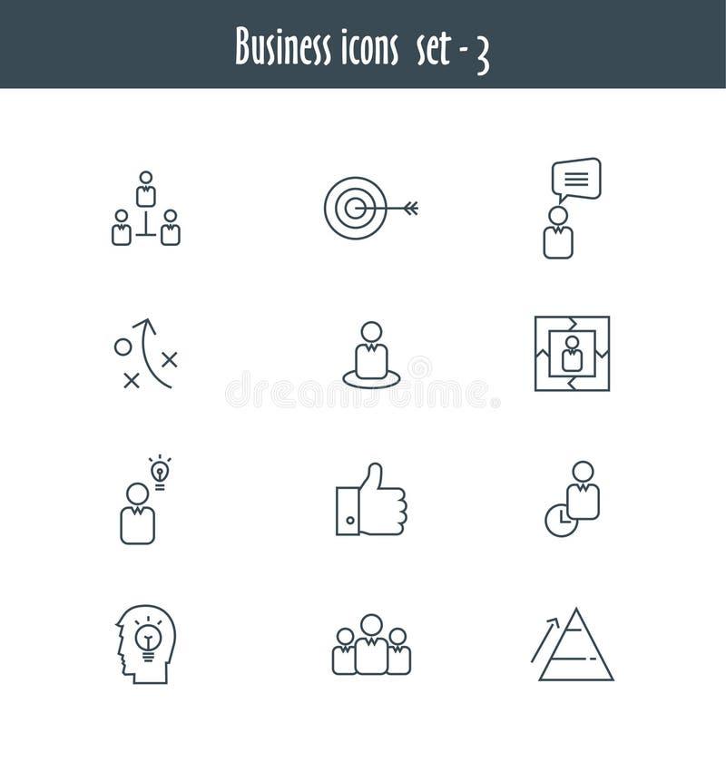 Linha lisa ícones ajustados da reunião de negócios ilustração royalty free