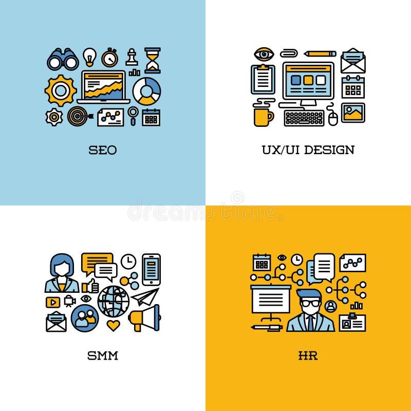 A linha lisa ícones ajustados de SEO, UI e UX projetam, SMM, hora creativo ilustração stock