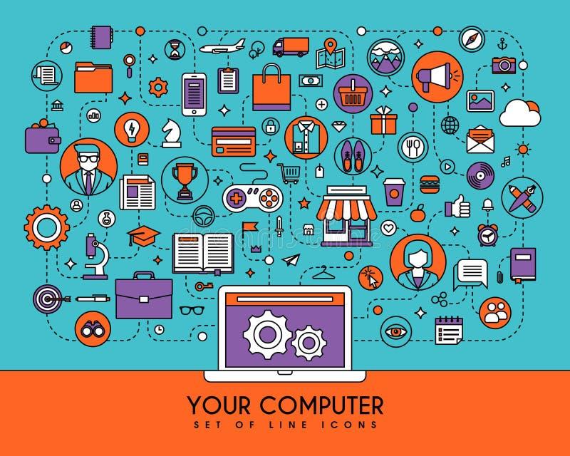 Linha lisa ícones ajustados Elementos criativos do projeto para Web site ilustração royalty free