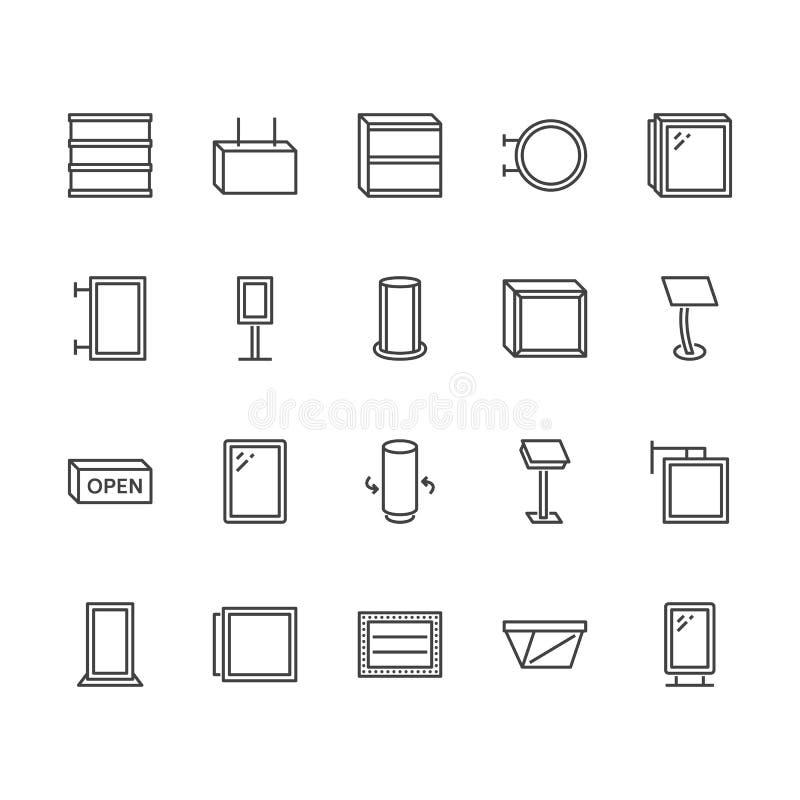 Linha lisa ícones da caixa leve Quadro indicador de suspensão, lightbox retro, bandeira exterior, ilustrações do vetor da propaga ilustração do vetor