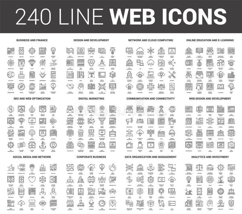 Linha lisa ícones da Web ilustração do vetor