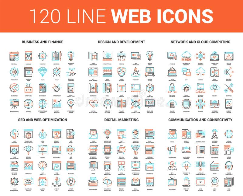 Linha lisa ícones da Web ilustração stock