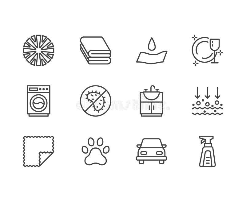 Linha lisa ícones das propriedades de pano de Microfiber Material absorvente, limpeza da poeira, detergente lavável, anti-bacteri ilustração stock