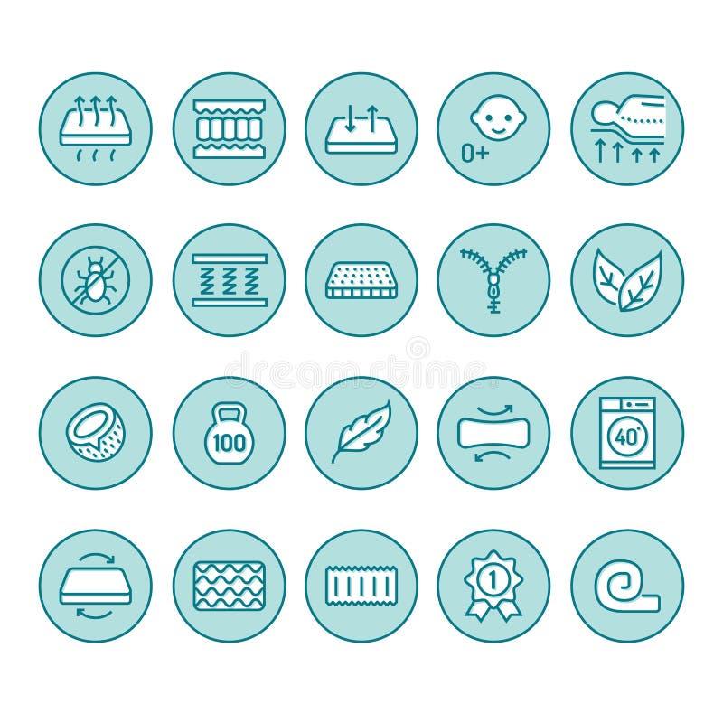 Linha lisa ícones do colchão ortopédico Propriedades dos colchões - anti ácaro da poeira, apoio da espinha, tampa lavável, respir ilustração stock