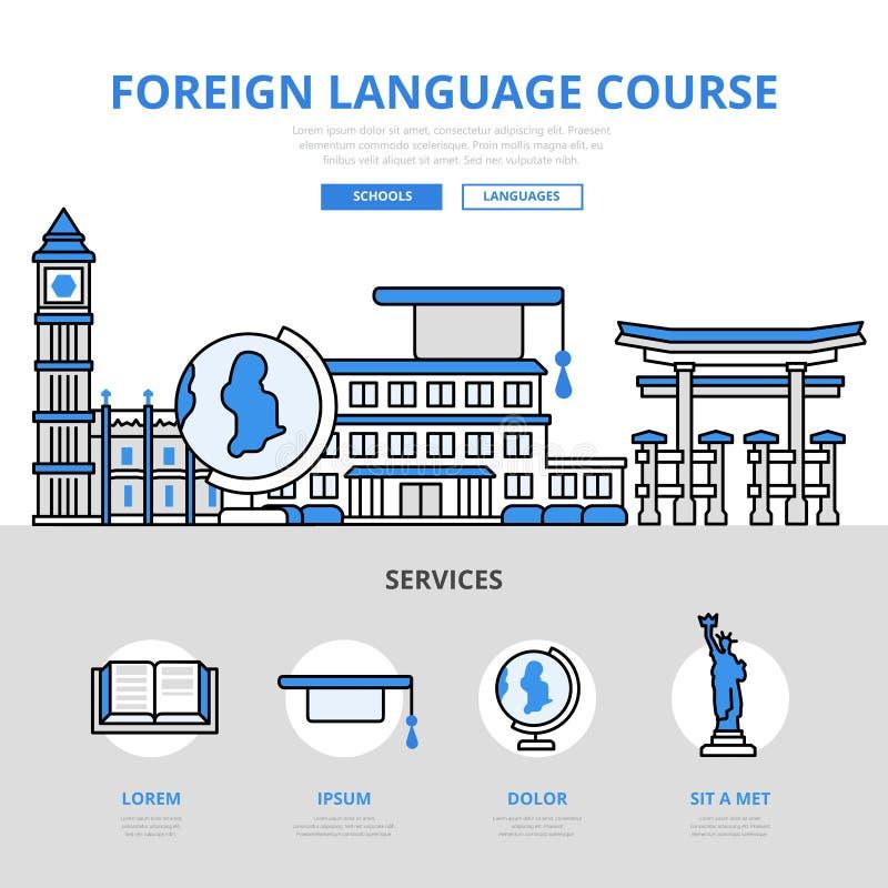 Linha lisa ícones do conceito do curso da língua estrangeira do vetor da arte ilustração royalty free