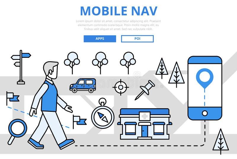Linha lisa ícones do conceito móvel de GPS da navegação do vetor da arte ilustração royalty free