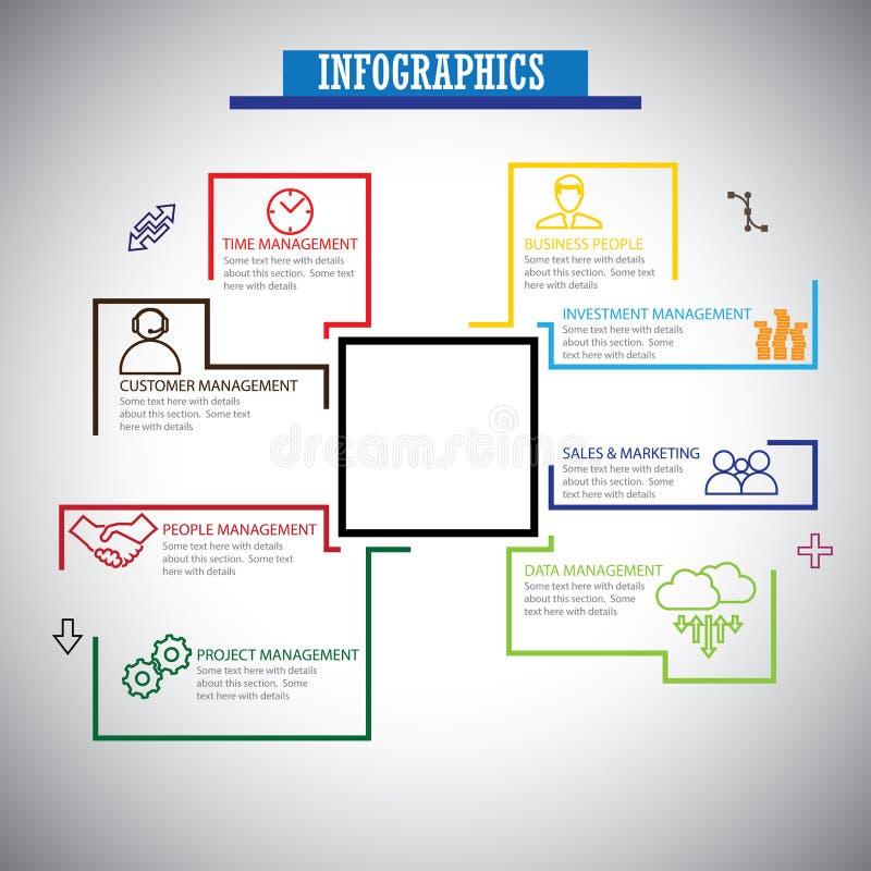 A linha lisa ícones do infographics ajustou-se da gestão - vetor do conceito ilustração do vetor