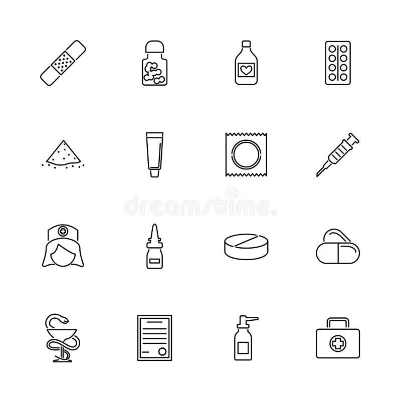 Linha lisa ícones do vetor da farmácia ilustração royalty free
