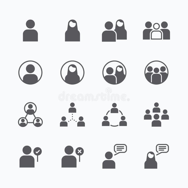 A linha lisa ícones do vetor do ícone dos povos ajustou o conceito ilustração royalty free