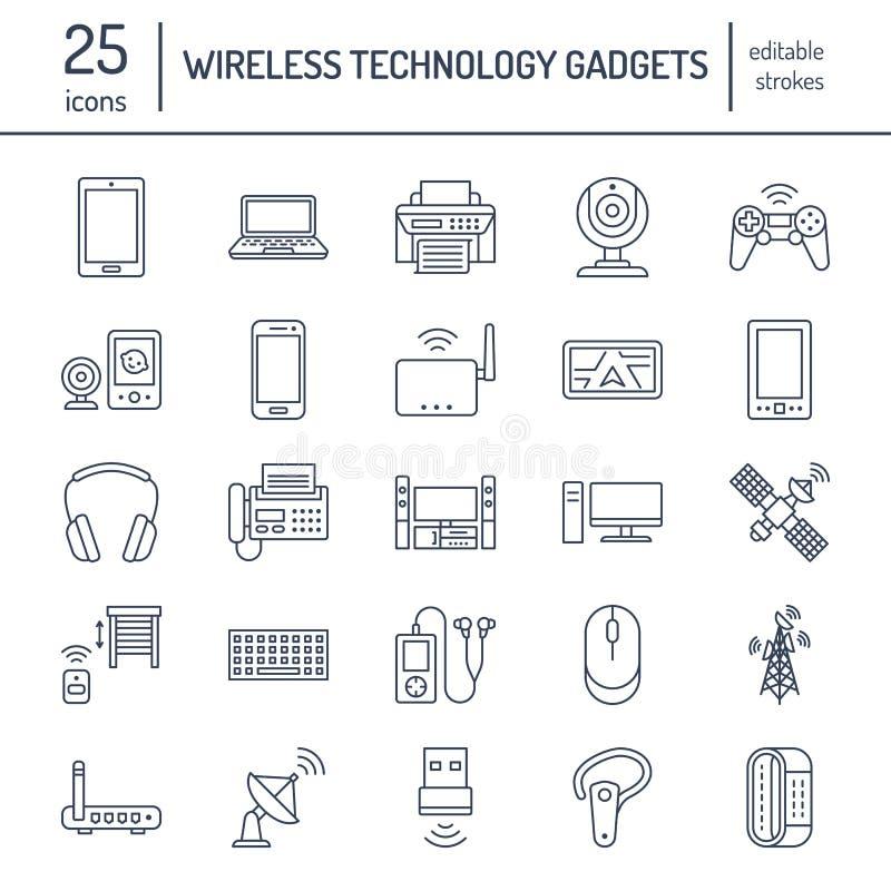 Linha lisa ícones dos dispositivos sem fios Sinais da tecnologia da conexão a Internet de Wifi Roteador, computador, smartphone,  ilustração stock