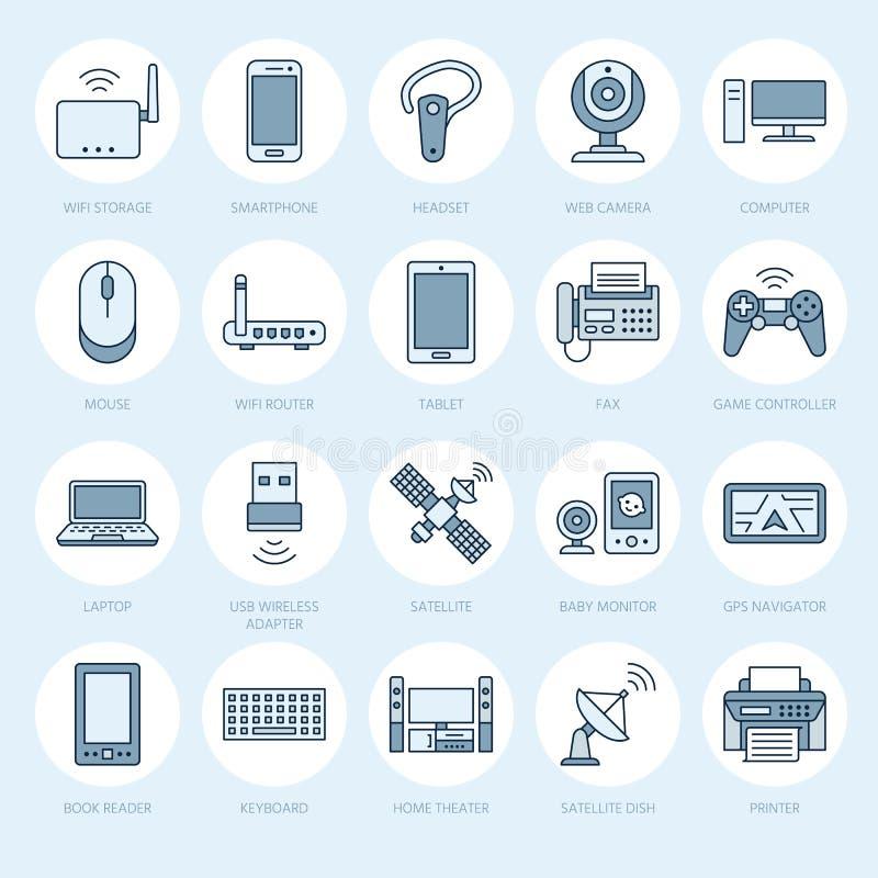 Linha lisa ícones dos dispositivos sem fios Sinais da tecnologia da conexão a Internet de Wifi Roteador, computador, smartphone,  ilustração royalty free