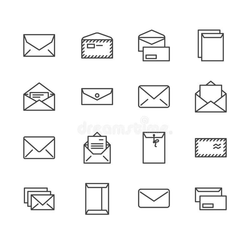 Linha lisa ícones dos envelopes Correio, mensagem, envelope aberto com letra, ilustrações do vetor do email Sinais finos para a s ilustração stock