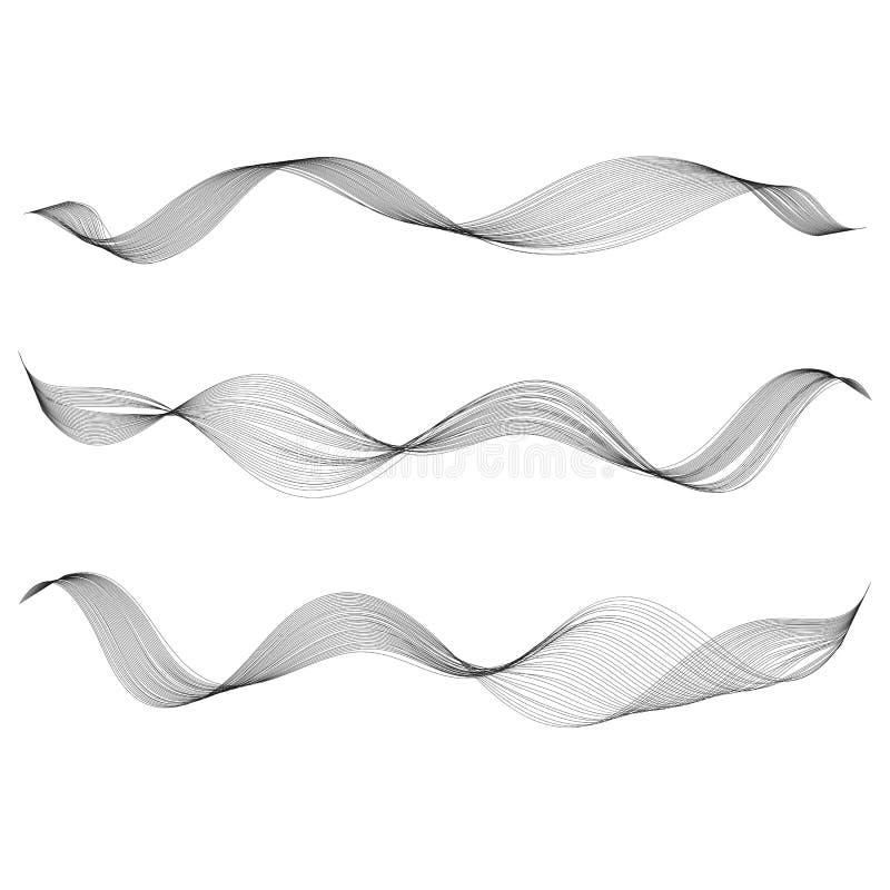 A linha lisa abstrata elemento da curva do projeto estilizou a onda da música ilustração do vetor
