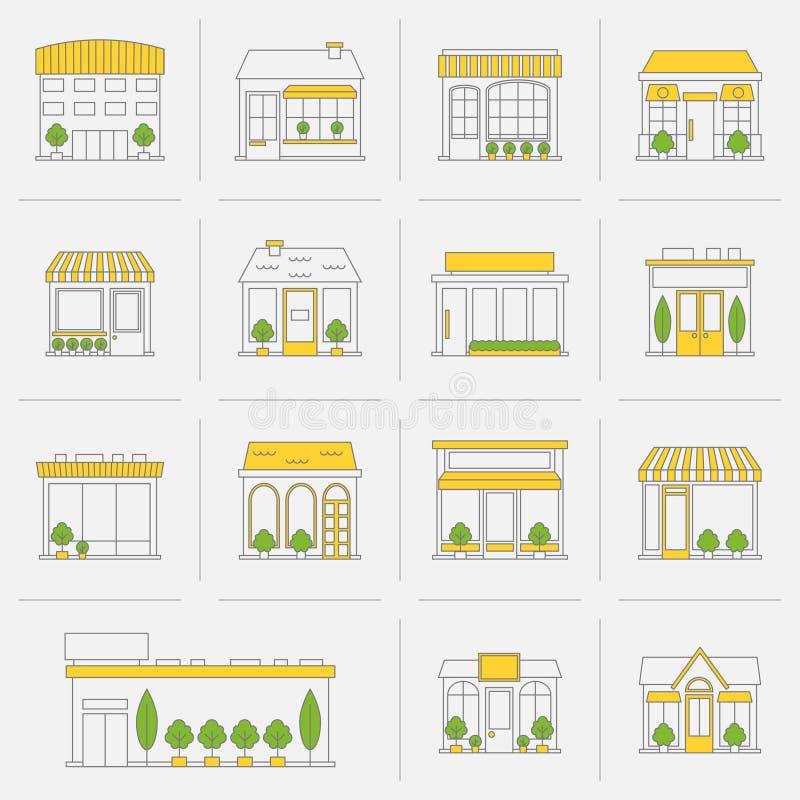 Linha lisa ajustada ícones da construção de loja ilustração stock