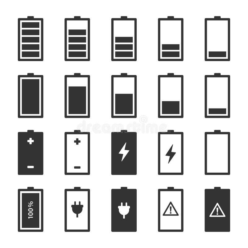 Linha lisa ajustada do ícone da bateria do vetor ilustração do vetor