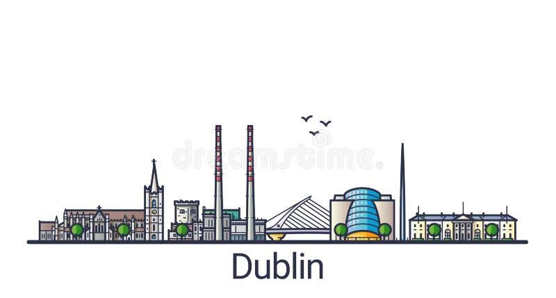 Linha lisa bandeira de Dublin ilustração do vetor