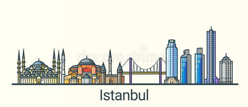 Linha lisa bandeira de Istambul ilustração stock