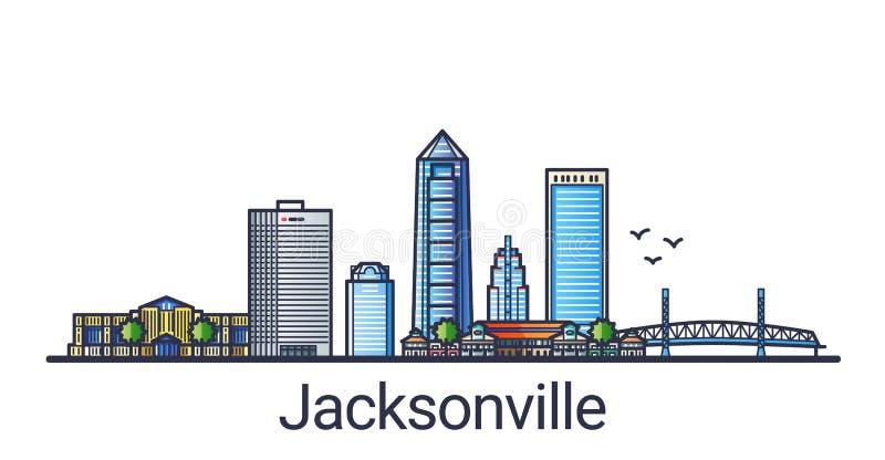 Linha lisa bandeira de Jacksonville ilustração stock