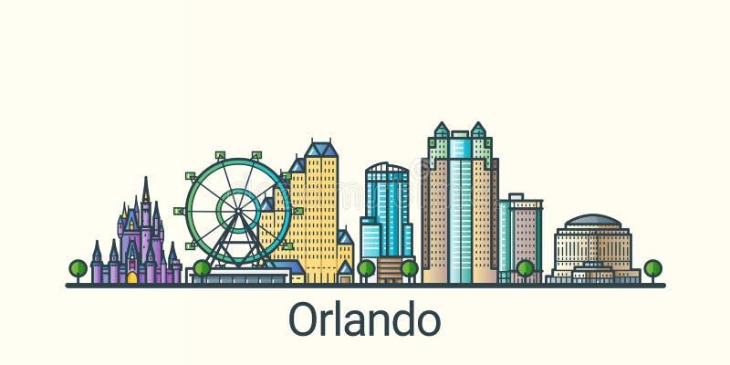 Linha lisa bandeira de Orlando ilustração do vetor