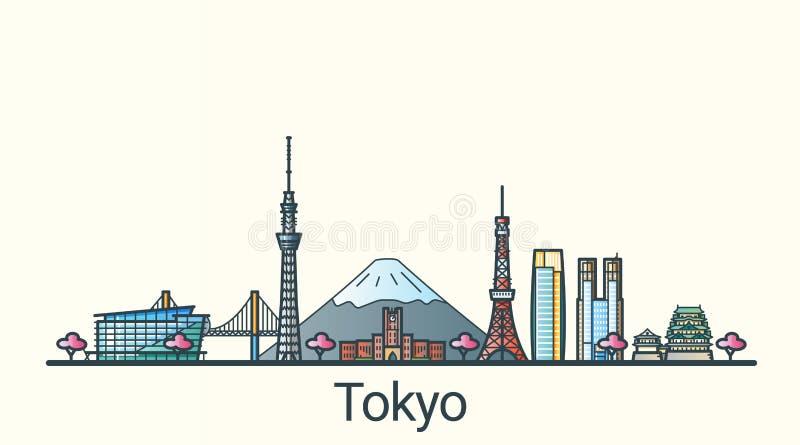 Linha lisa bandeira do Tóquio ilustração stock
