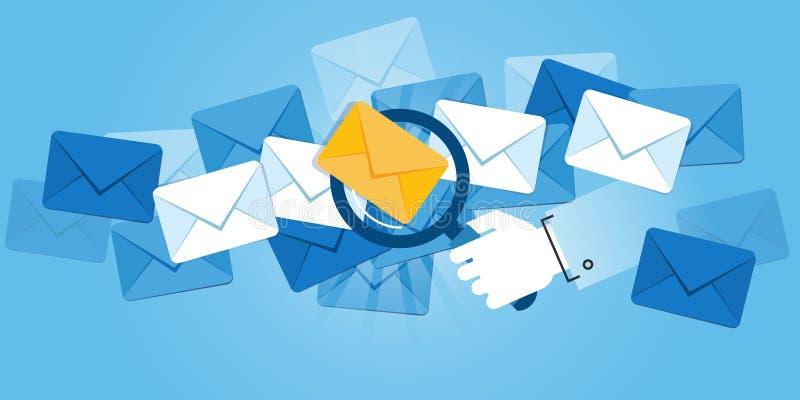 Linha lisa bandeira do Web site do projeto da proteção do email ilustração do vetor
