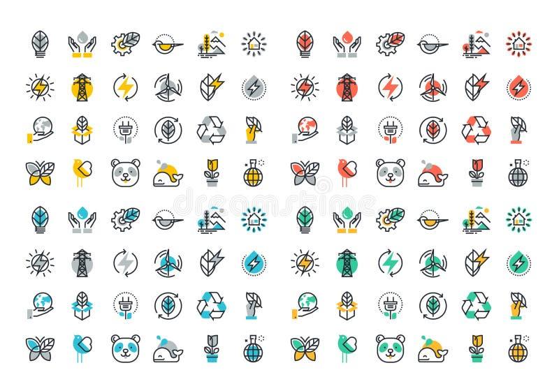 Linha lisa coleção colorida dos ícones da energia renovável ilustração stock