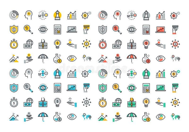 Linha lisa coleção colorida dos ícones do negócio e da finança ilustração stock