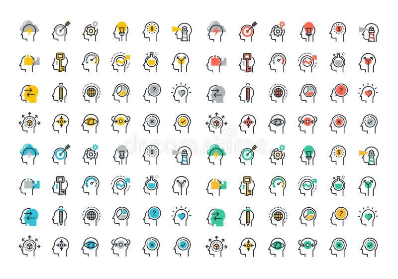 Linha lisa coleção colorida dos ícones do processo do cérebro humano ilustração stock