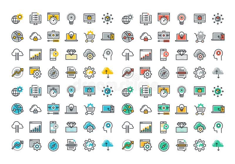 Linha lisa coleção colorida dos ícones do Web site e do desenvolvimento do app ilustração stock