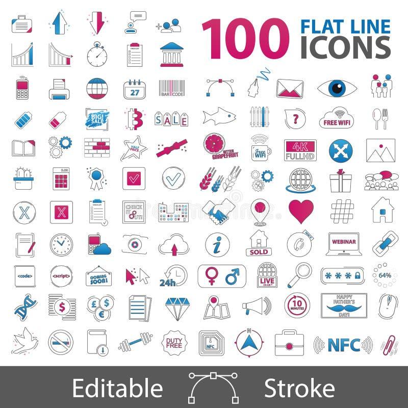 100 linha lisa coleção dos ícones - esboce símbolos denominados - cursos editáveis - ilustrações do vetor - isolados no fundo bra ilustração stock