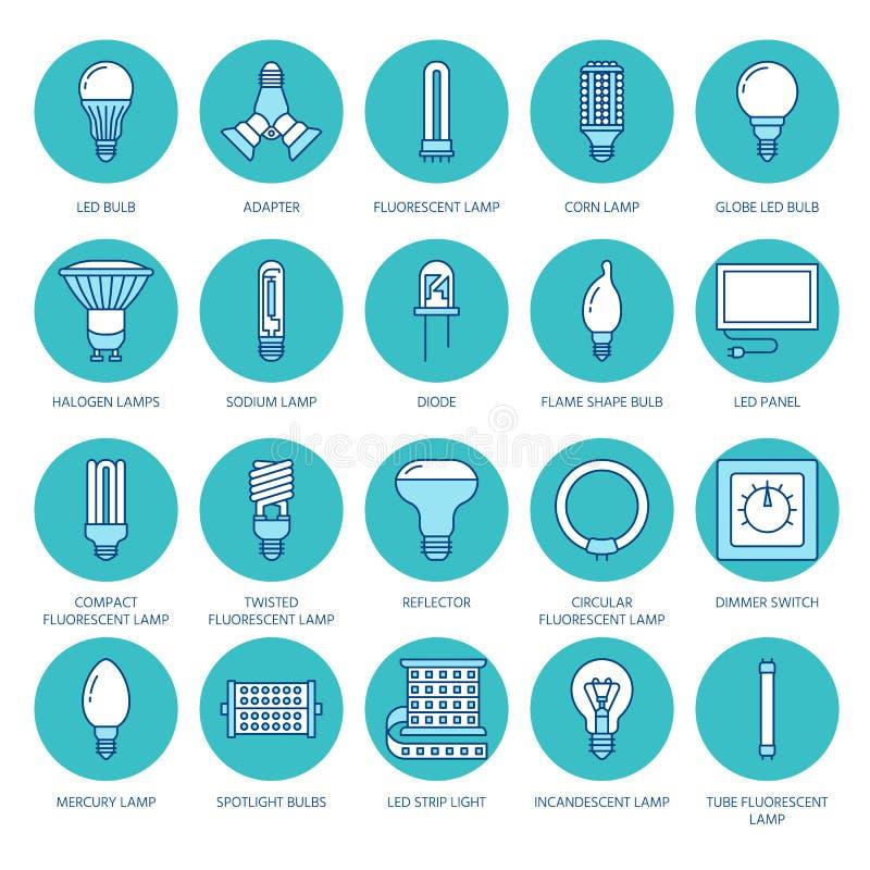 Linha lisa colorida ícones das ampolas Tipos das lâmpadas, fluorescente conduzidos, filamento, halogênio, diodo e a outra ilumina ilustração stock