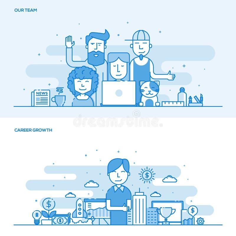 Linha lisa conceito da cor nosso crescimento da equipe e da carreira ilustração stock