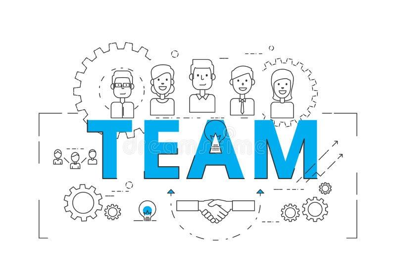Linha lisa conceito da equipe da palavra do projeto com ícones e elementos ilustração stock
