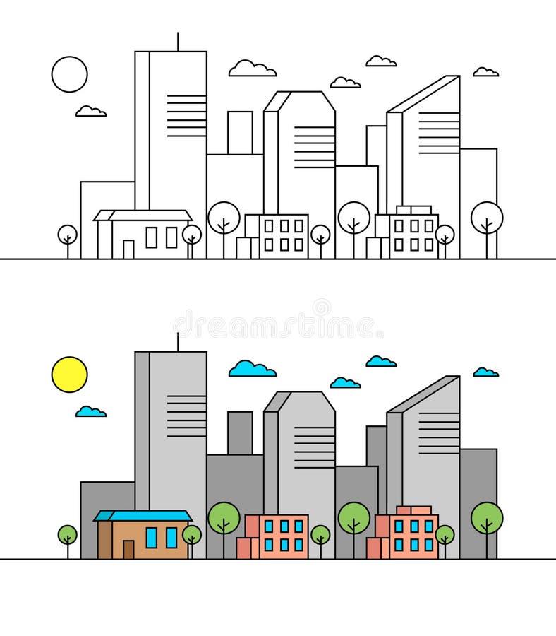 A linha lisa conceito da opinião da paisagem da rua da cidade com construções, árvores, compra Cursos editáveis Ilustração linear fotos de stock