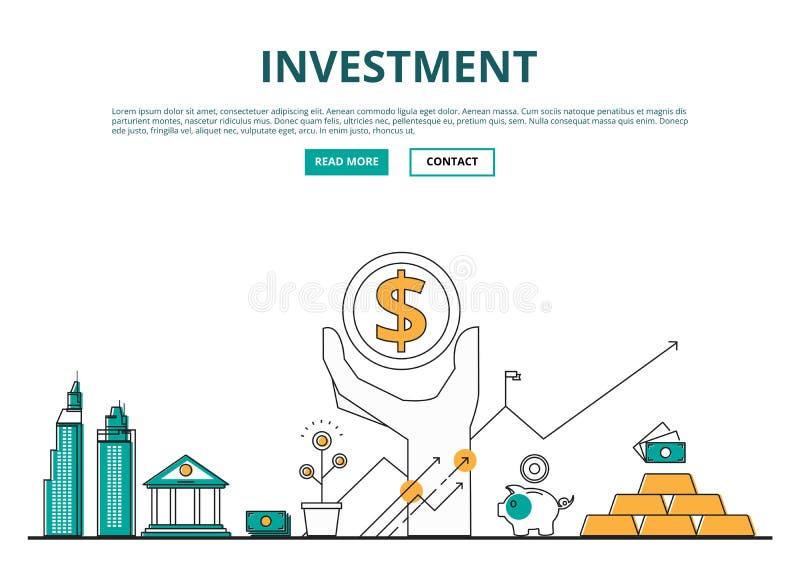 Linha lisa conceito de projeto de financeiro e do investimento com ícones ilustração stock