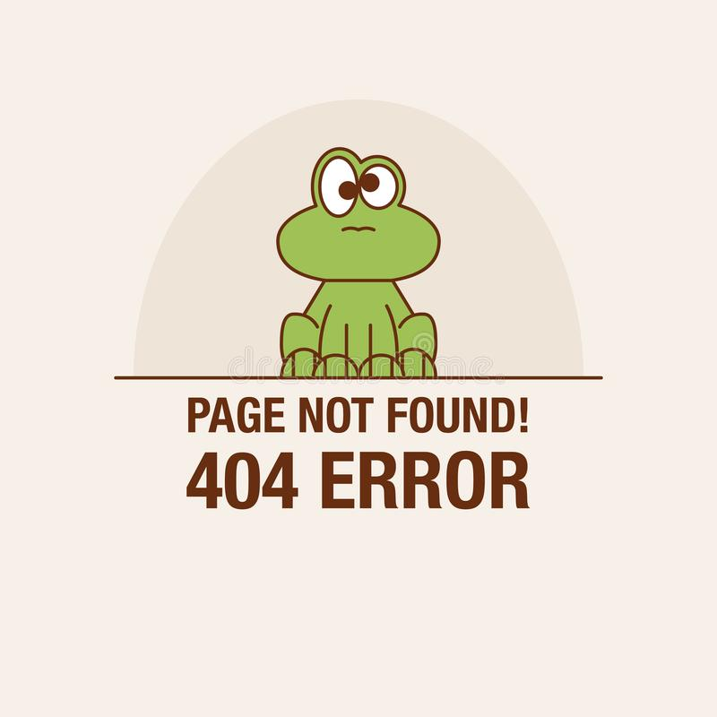 Linha lisa conceito do ícone do ícone não encontrado da página ou do arquivo de 404 erros Face bonito dos desenhos animados ilustração stock